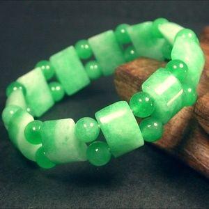 JADE Bamboo Bead Beads Beaded Bangle Bracelet